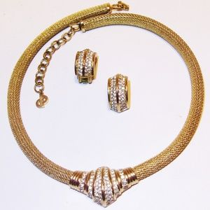 Vintage Dior Rhinestone Mesh Necklace Earring Set